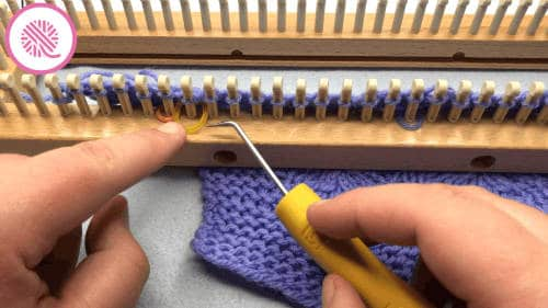 feather lace stitch on the loom