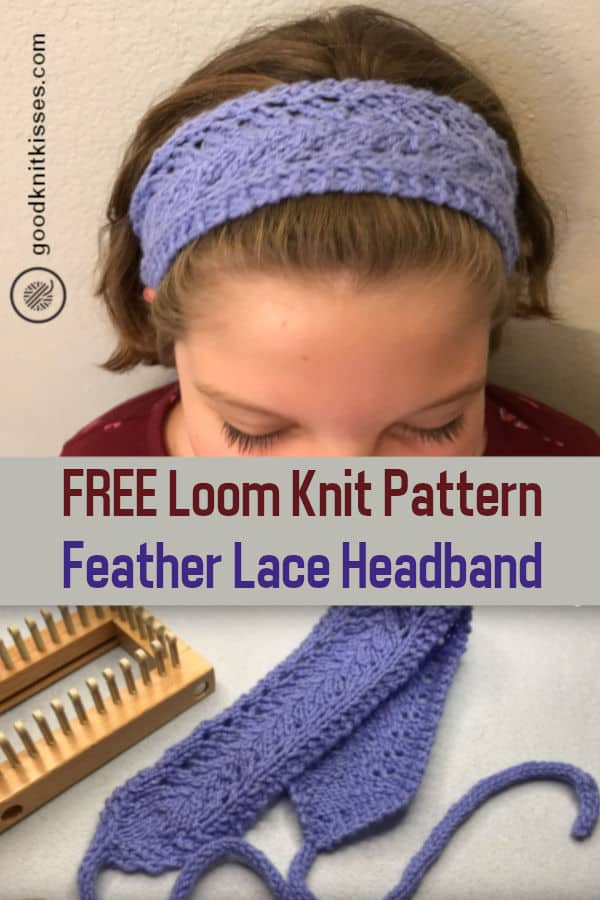 loom knit easy lace headband pin