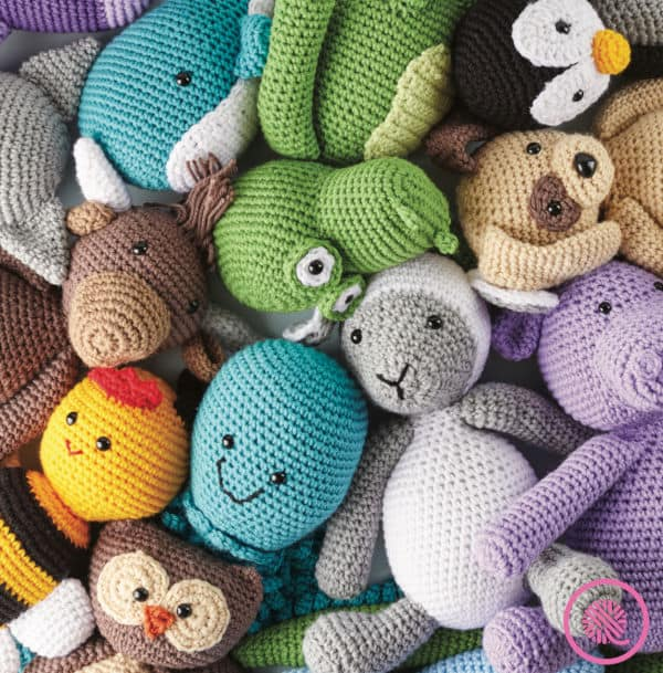 crochet cute critters book pile of finished amigurumi animals