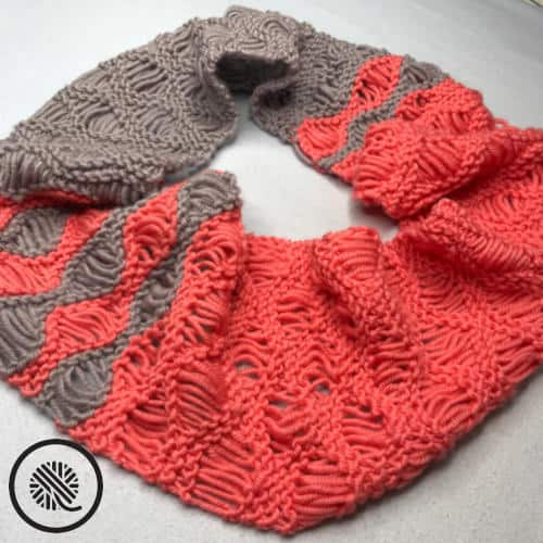 needle knit coral breezes infinity scarf finished scarf