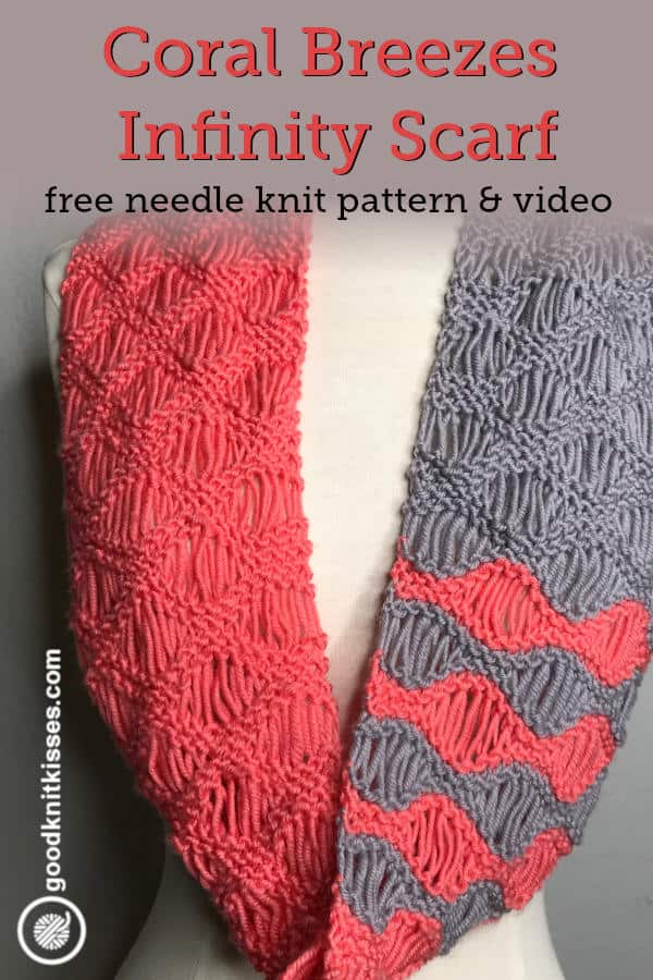 needle knit coral breezes infinity scarf pin image