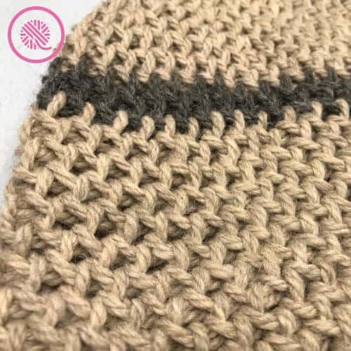 loom knit boyfriend hat close of the diamond lace stitch