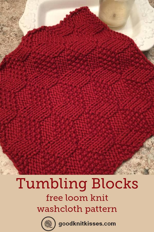 loom knit tumbling moss blocks washcloth pin image