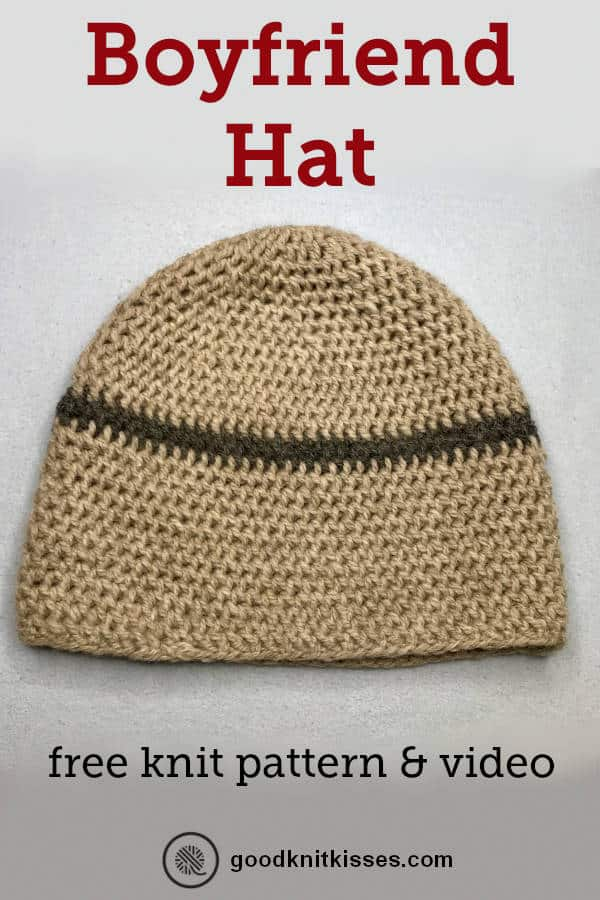 Needle knit boyfriend hat pin image