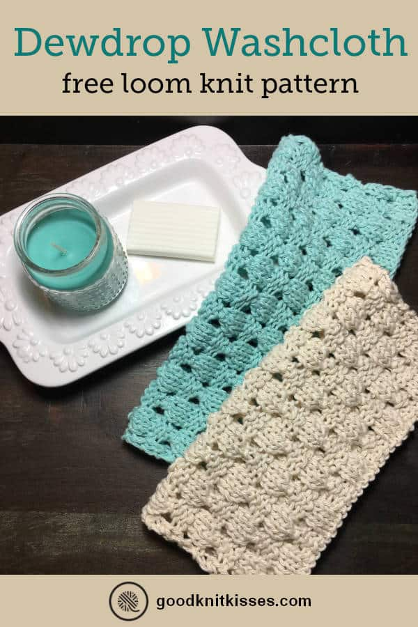 loom knit dewdrop washcloth pin image