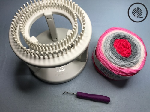 double loom knit chunky rib brim hat supplies