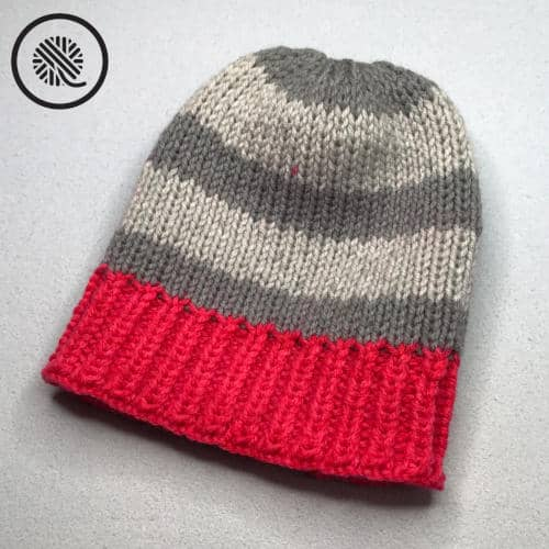 double loom knit chunky rib brim hat finished project