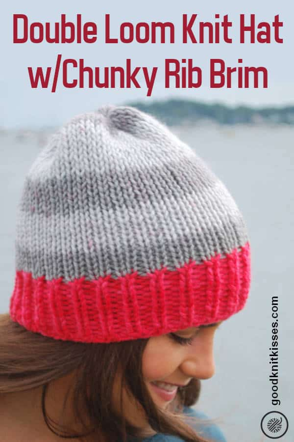 double loom knit chunky rib brim hat pin image