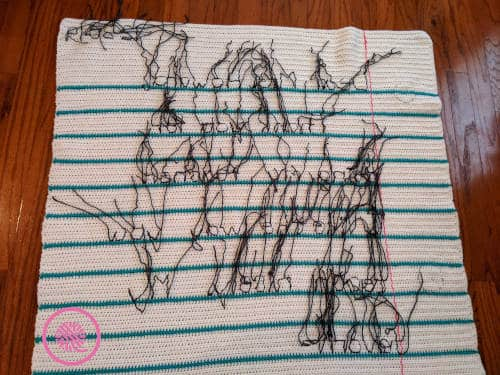 crochet thank you note blanket backside showing ends to weave in after lettering is done