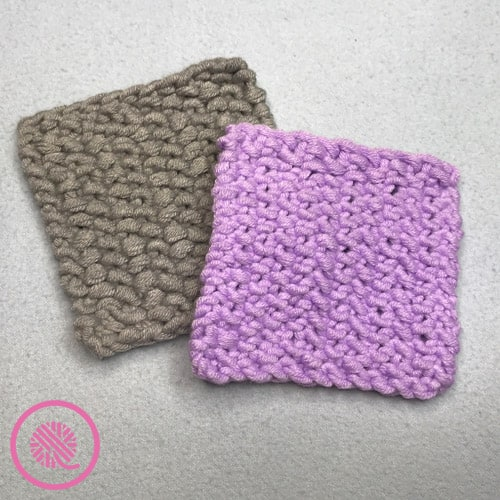 easy seed stitch patterns for loom knitters finished coaster in grey and purple