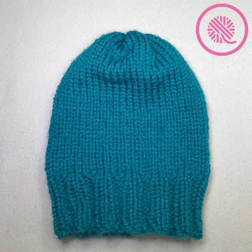 loom knit basic beanie finished project