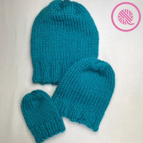 loom knit basic beanie finished hats in 3 sizes