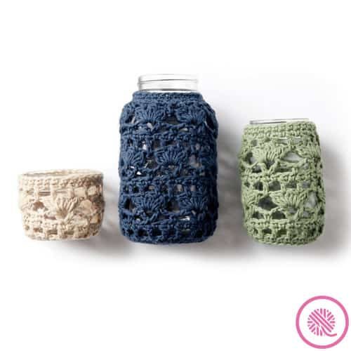 jar cozie crochet pattern showing three sizes