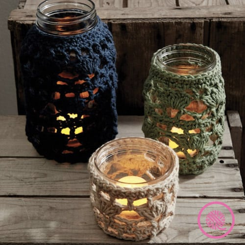 jar cozie crochet pattern with candles