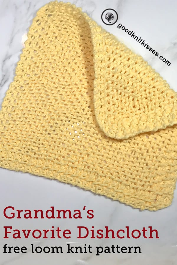 loom knit grandmas favorite dishcloth Pin image