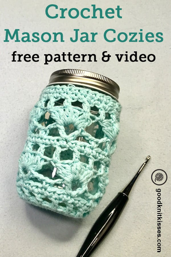 mason jar cozie with crochet hook