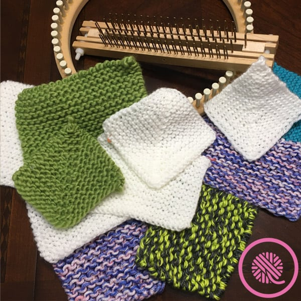 loom knit mitered square calculator test swatches
