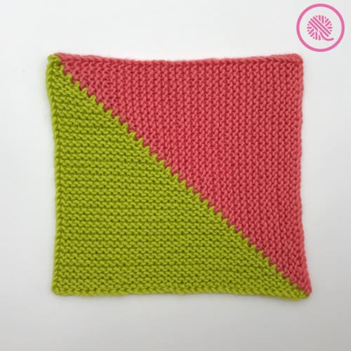 loom knit short row mitered square in 2 colors