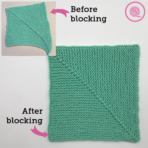 Square shown before and after blocking