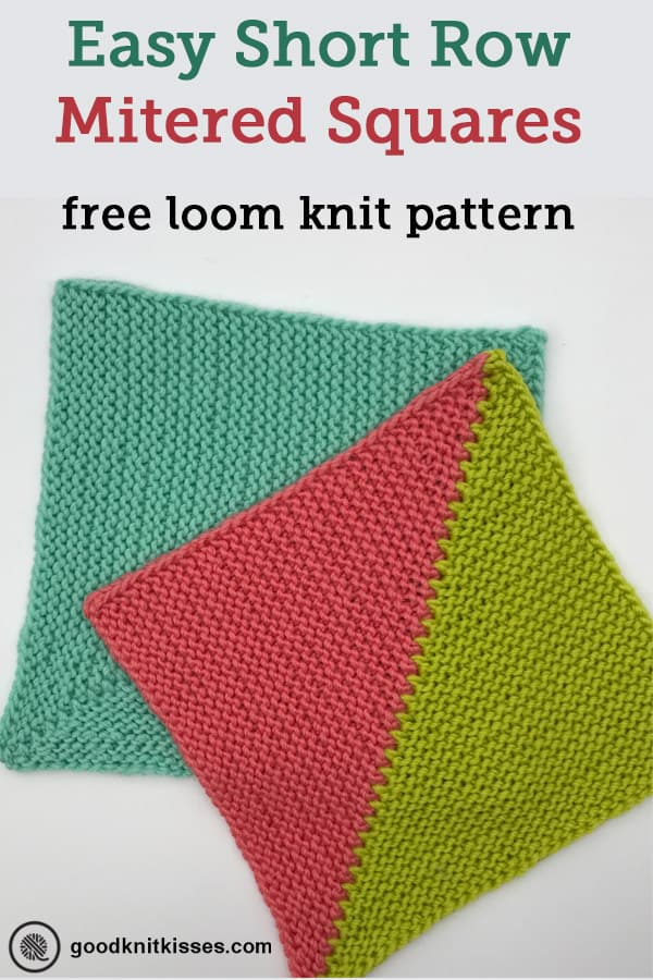 loom knit short row mitered square PIN image