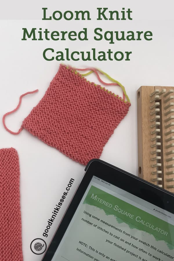 loom knit mitered square calculator pin image
