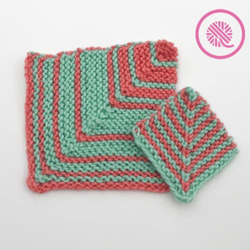 Loom Knit Striped Mitered Square - Large square with wide stripes, small square with narrow stripes