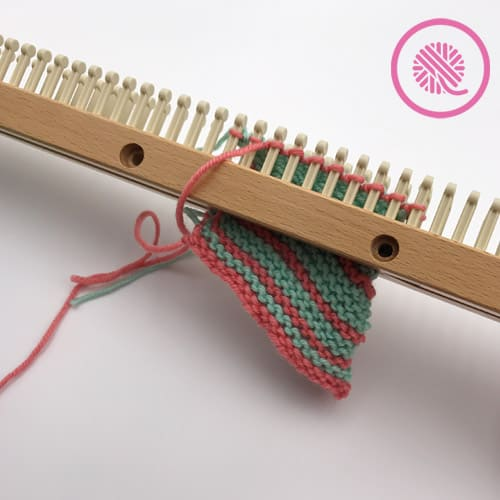 Striped Mitered Square on loom