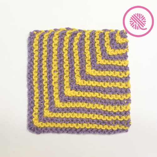 Classic Loom Knit Striped Mitered Square in Purple and Yellow