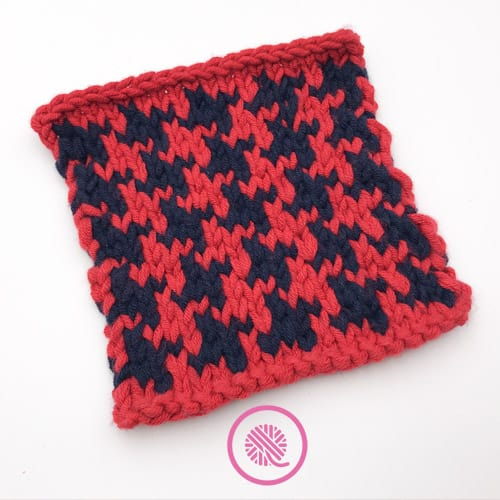 knit houndstooth square in red and navy
