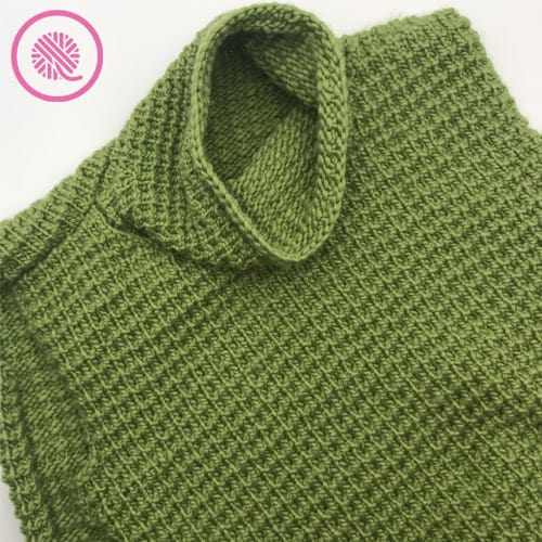 easy going loom knit sweater with cowl collar