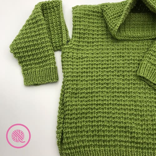 sweater set in sleeves and finish side seam progress picture