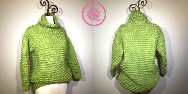 finished loom knit sweater front and back