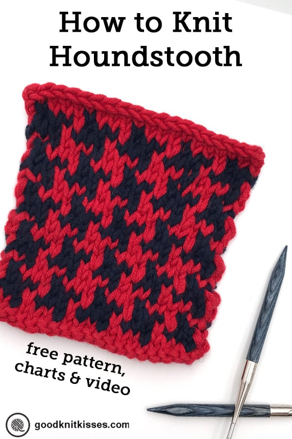how to knit houndsooth pin image square with needles