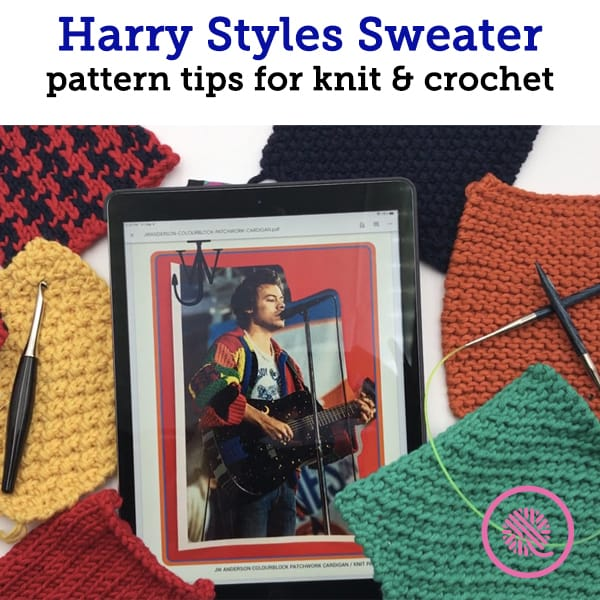 Harry Styles Sweater Pattern with squares for knit and crochet