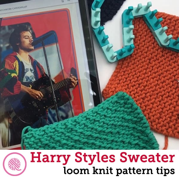 loom knit harry styles sweater blocks with pic of harry