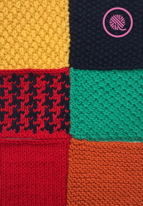 six blocks showing the stitch patterns in the sweater