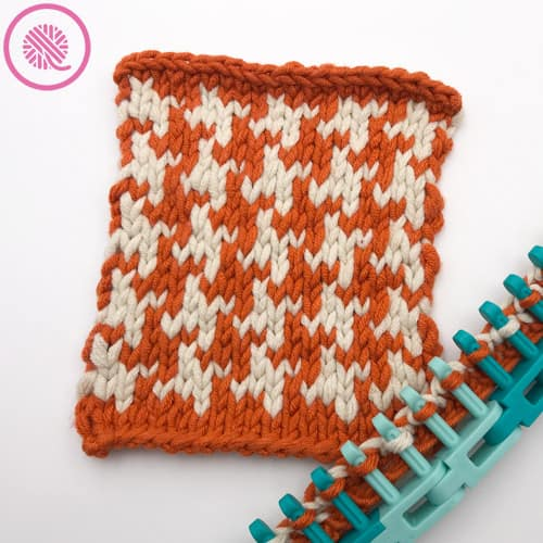 loom knit houndstooth square in orange and cream