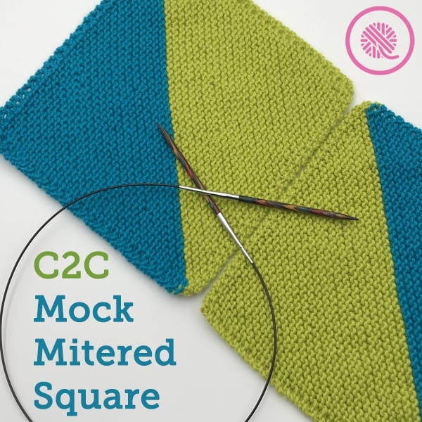 Needle Knit This Colorful C2C Mock Mitered Square Like a Pro