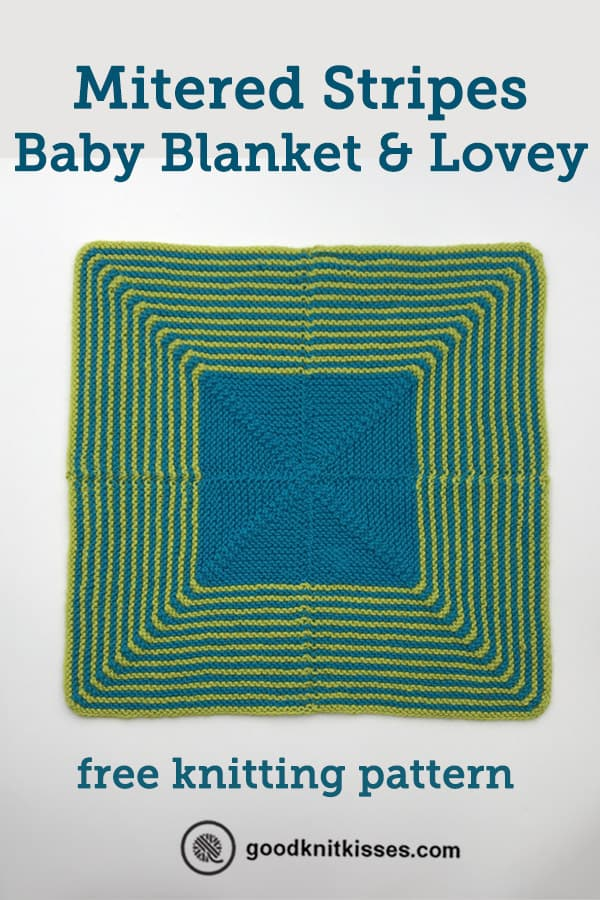 mitered stripes baby blanket and lovey pin image