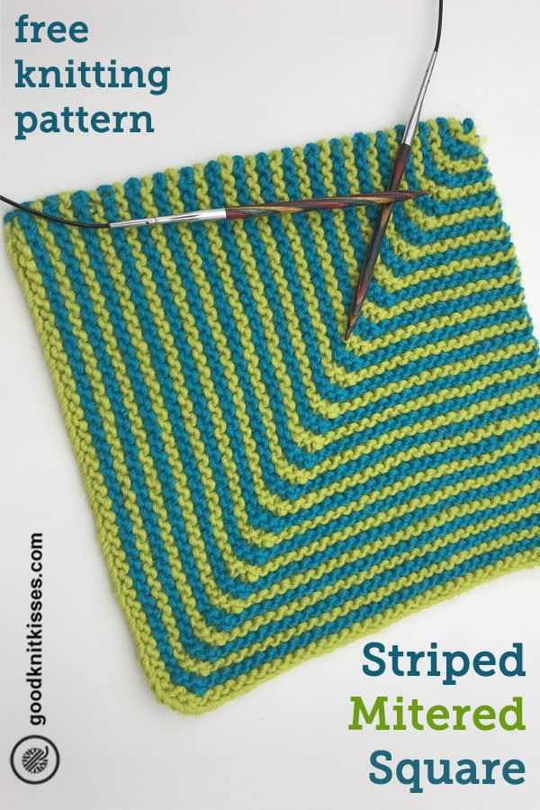 needle knit striped mitered square pin image