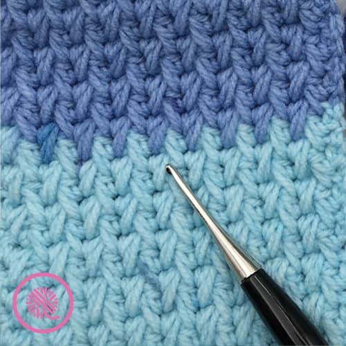 crochet feather stitch close up