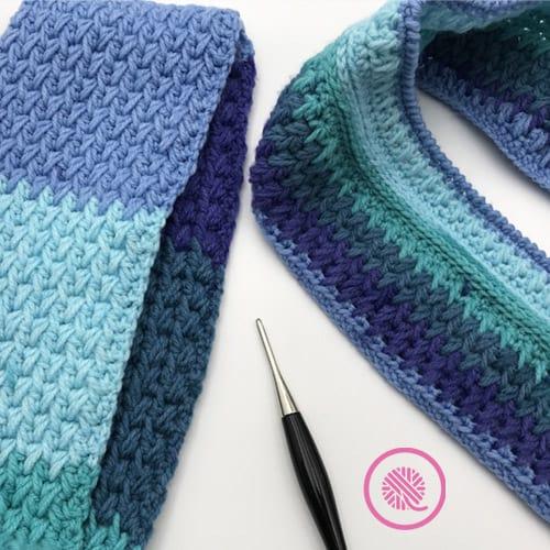 Flat panel vs in the round feather stitch comparison using Bernat Pop yarn
