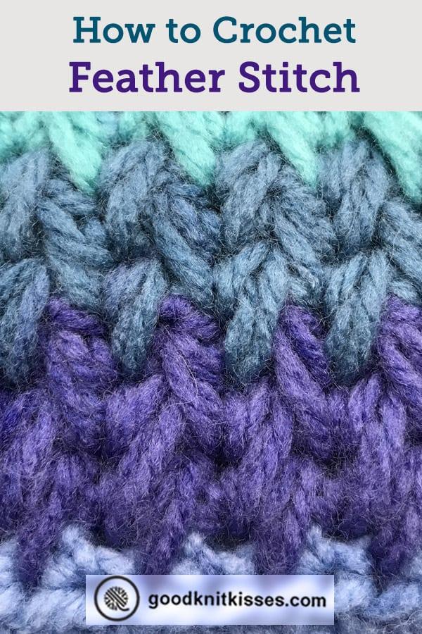 crochet feather stitch pin image