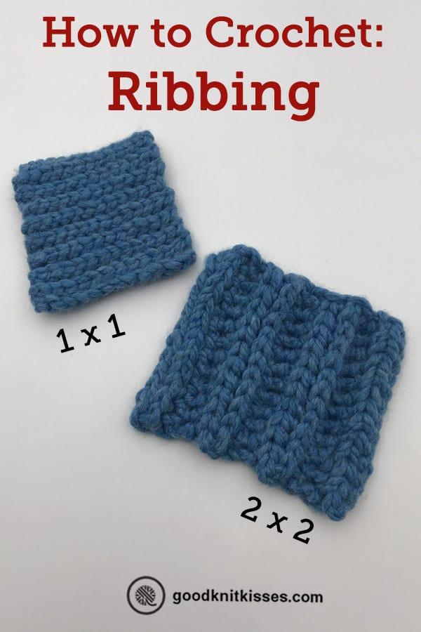 how to crochet ribbing pin image