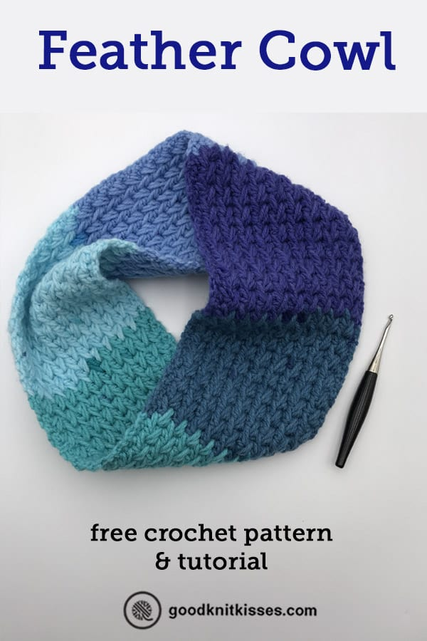 crochet feather cowl pin image