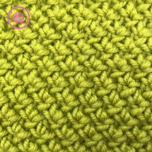 needle knit edelweiss stitch close up