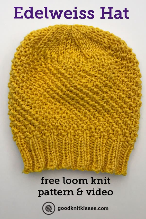 loom knit edelweiss hat pin image