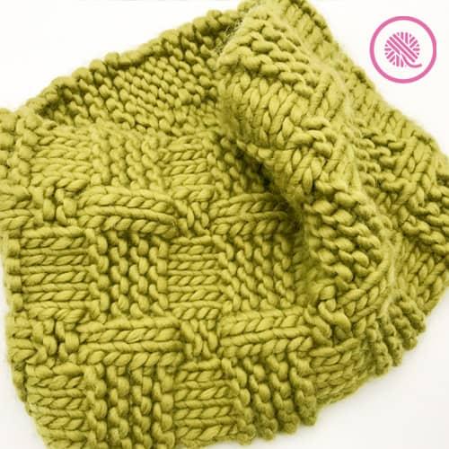 loom knit basketweave cowl finished