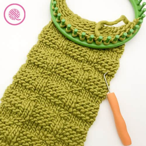 loom knit cowl ready to bind off