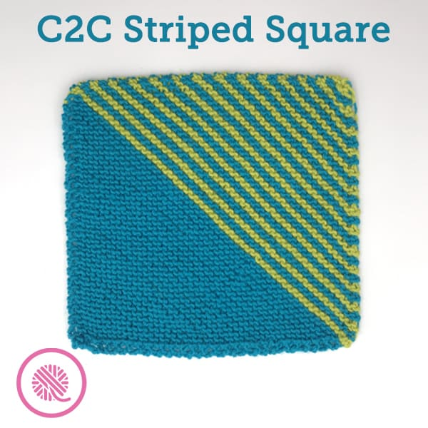 Learn to Knit a Colorful C2C Striped Mock Mitered Square